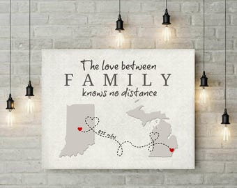 Family Gift | Long Distance Map | Gift For Family | Map Print | Map Art | Birthday Gift For Grandma | Mothers Day Gift For Mom  - 68877
