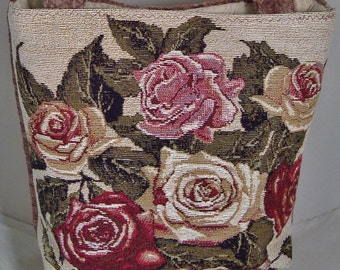 Handcrafted Tapestry Tote Bag Fully-lined with Three Interior Pockets