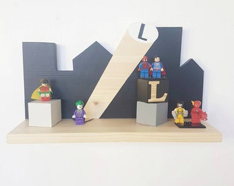 Superhero skyline shelf - personalised shelf - kids superhero decor - nursery decor