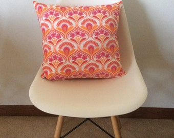 Orange and pink flower pillow