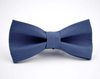 Mens Bowtie Kaufman Kona in Cadet, Subtle Navy Blue Bow Tie, Groomsmen Bow Tie, Wedding Bow Ties, Adjustable Bow Tie