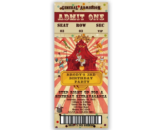 Vintage Circus Ticket Invitation Circus Invitation Circus