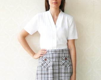 "Vintage high waisted skirt, small medium - blue and brown checks . . . ""Like"" our fb page for 10% discount"