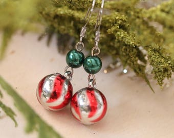 Christmas Earrings • Vintage Ornaments • cute festive Christmas charm earrings holiday jewelry stocking stuffers gift for her gift under 15