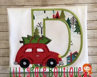Boys Monogram Christmas Tree Car Shirt