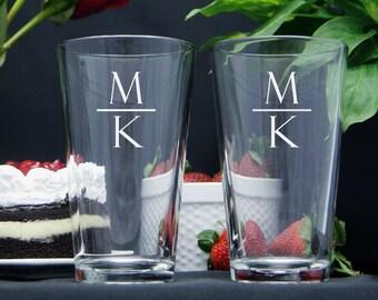 Personalized Beer Glasses / Monogram Beer Glasses / Engraved Wedding Glasses / Custom Pint Glass / Groomsman Gift / Select ANY QUANTITY