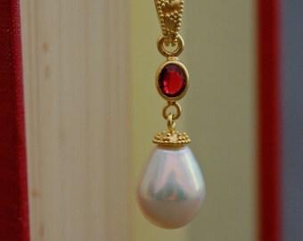 Alaula - Ivory Pearl Pendant, large teardrop pearl pendant, sapphire accented pearl pendant, sapphire ruby gemstone, June birthstone pendant