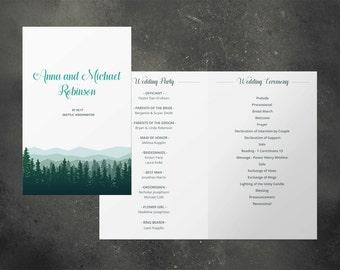 Wedding program, printable wedding program, wedding program template, nature, forest, wood, fir, tree, spruce, mountains, rustic