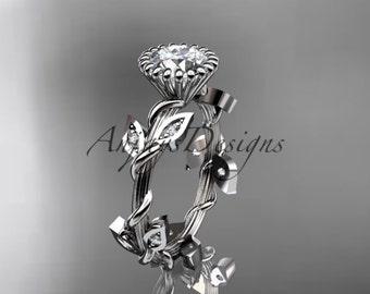 diamant platine feuille de vigne et bague de mariage, bague de fiançailles avec une pierre centrale de Moissanite «Pour toujours un» ADLR20A