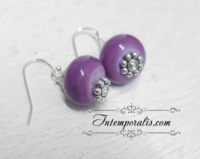 Lampwork bead purple earrings, OOAK, SABOLW01