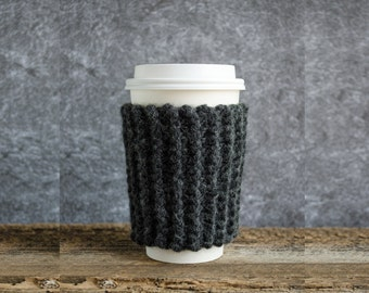 Coffee Cozy, Chunky Knit Coffee Sleeve, Cup Cozy, Coffee Mug Cozy, Coffee Cup Cozy, Coffee Cup Sleeve, Hygge Decor, Gifts For Him, Charcoal