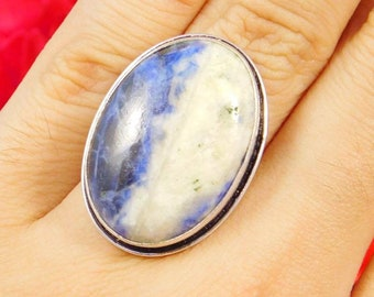 SodaLite Gemstone .925 Silver Plated Handmade Ring Size 6.25 Jewelry JT1474