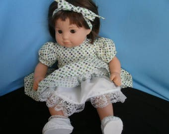 Special Reduced Price , Ships Free, Shamrock Dress and accessories for Bitty Baby Size Dolls,