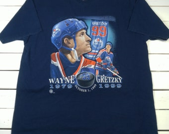 VTG Pro Player Mens Graphic T-Shirt XL Cotton Wayne Gretzky Edmonton Oilers 99 Retired -T2-34