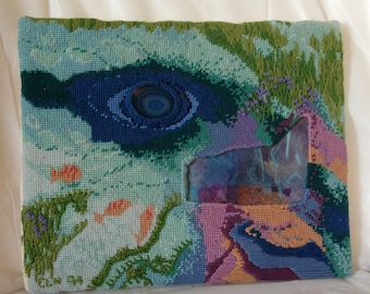 Blue Spring Needlepoint Mixed Media Art  OOAK Wall Hanging 10x12