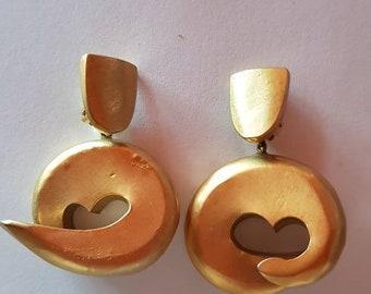 Polished brass earrings 1970s Jewelry Handmade in France