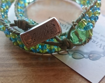 Green and blue leather double wrap bracelet