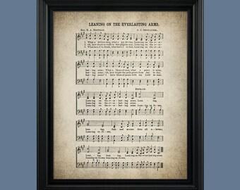 Leaning on the Everlasting Arms Hymn Print - Sheet Music Art - Hymn Art - Hymnal Sheet - Home Decor - Music Sheet - Print - #HYMN-P-023