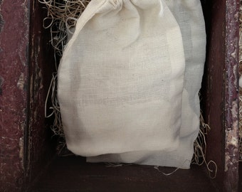 "Drawstring Pouches / Cotton Muslin Bags 3.25""x5"" OR 2.75""x4"""