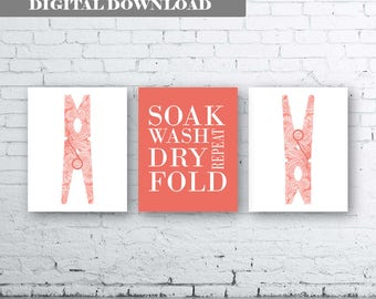 Laundry Wall Art Print. Set of Three (3)-Instant Download. Peg Wall Art. Soak Wash Fold Dry Repeat. Laundry Printable. Coral. Coral Laundry