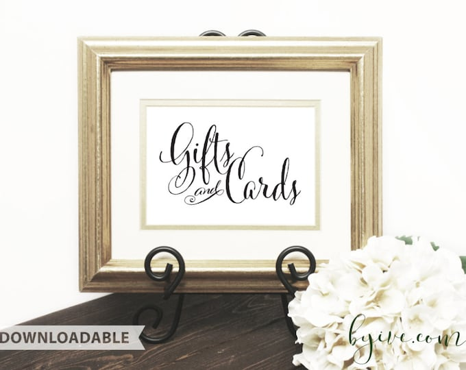 Gift & Card Wedding Sign, Script Sign, Downloadable, Print it yourself.