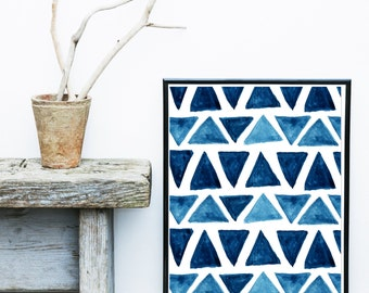 Watercolor Painting, Geometric Art Print, Printable Art, Blue Abstract, Watercolor Triangles, Scandinavian Design, Abstract Wall Art