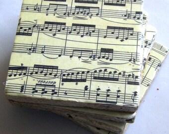 Coaster set.  Classical sheet music on coasters.  Four tile coasters.