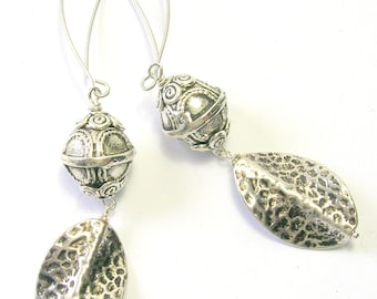 Silver Tribal/Ethnic Earrings - Handmade Silver Ear Wires - Boho Earrings - Very Long Drop
