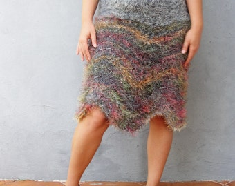 Soft Knitted Skirt Hand Knitted Cozy Winter Rainbow skirt Clothing size medium 8/10 EU size 38/40