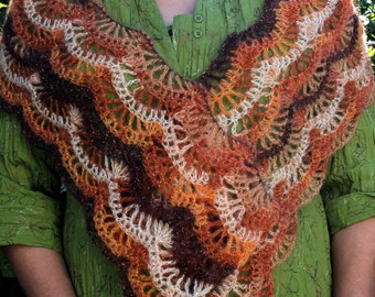 Seashell Stitch Stole Wrap Shawl Scarf Crochet Pattern