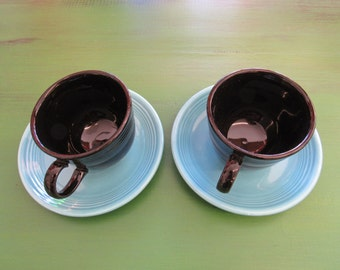 Set of 2 Vintage Turquoise and Black Fiesta Cup and Saucers