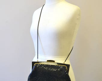 1980s Elka Black Metal Mesh Purse