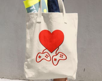 Video Game Lovers Valentines Day Cotton Tote Bag