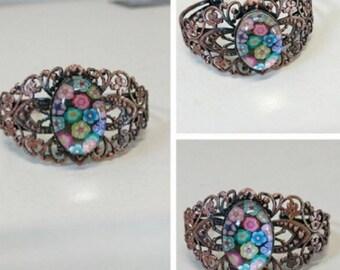 Bracelet millefiori cabochon bracelet, cabochon millefiori millefiori mosaic pendant, mosaic jewelry creation Mozalicia