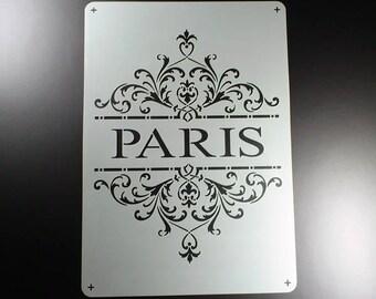 Stencil lettering shabby look Paris-BO49