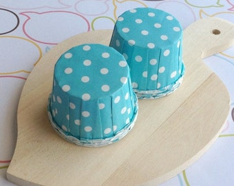 50 Aqua Polka Dot Baking Cups