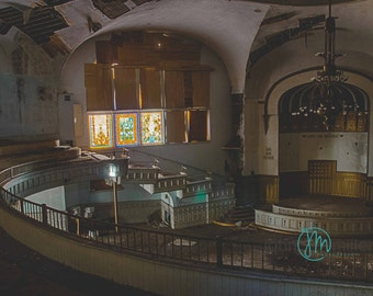 Fine art photography, Urban Decay, Abandoned Church, Wall Decor, Home Decor, Abandoned, Fine art print, Church, Stained Glass, Cathedral