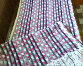 shades of gray with pink/white ombre afghan