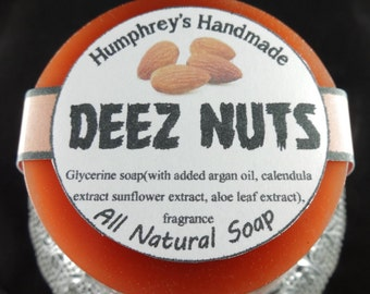 DEEZ NUTS Glycerin Soap, Honey Almond Shave & Shampoo Soap, Beard Wash Round Soap Puck, Argan Oil Brown, Funny Silly Crude
