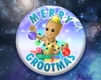 "Christmas Tree Groot 3"" Button"