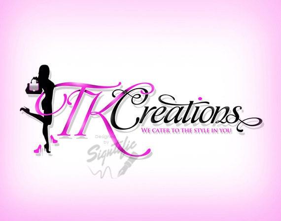 Classy logo design, pink and black fashion logo, high resolution logo, custom clothing line logo, hot pink logo with fashion clip art image