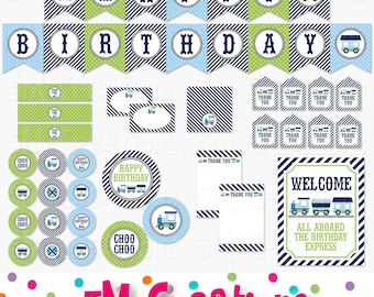Train Birthday Party Printable Package - Train Party Decorations - Banner Cupcake Toppers Favor Tag Sign blue navy green Instant Download