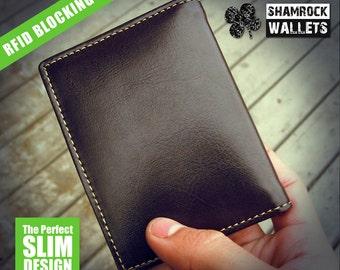 SHAMROCKWALLETS RFID Slim Wallet - Brown
