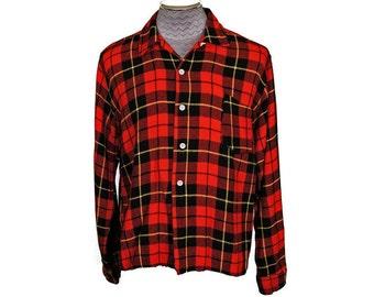 Vintage 1950s Red Wool Plaid Mens Shirt with Loop Collar