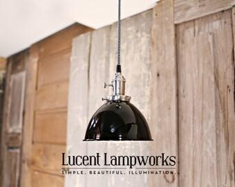 Black Dome Shade Pendant Lighting - 7 Inch