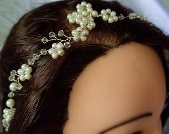 Pearl hair vine, bridal hair vine, bridal headpiece, crystal hair vine, crystal headpiece, pearl headpiece, wedding hair jewelry