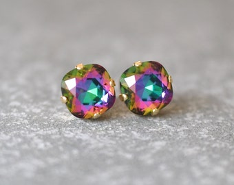Jewel Tone Rainbow Earrings Swarovski Crystal Rare Square Stud Earrings Rounded Posts Stud Clip on Rainbow Wedding Rainbow Bridal Bridesmaid