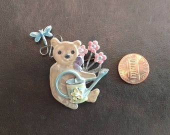 Teddy Bear Pin with Watercan & Flowers by KC