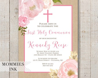 Watercolor Peonies Baptism Invitation, Kraft Religious Invite, Watercolor Pink Roses, Gold Glitter, Communion Invitation, Pink Flowers