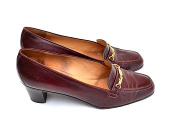 Celine Classic Bordeaux Leather Shoes - Heels / US 8